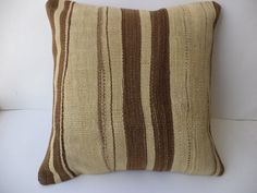 """Natural Wool Kilim Pillow Cover,20""""x20"""" inch Decorative Handwoven Undyed Wool Turkish Kilim Rug Pillow,Anatolian."""