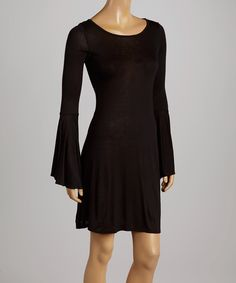 Look at this Casa Lee Black Bell-Sleeve Dress on #zulily today!