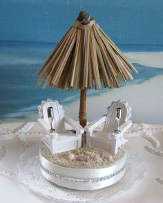 Tiki Umbrella Beach Wedding Cake Topper Cake  by CeShoreTreasures