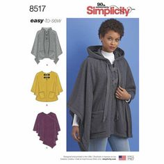 Simplicity 8517 Poncho Sewing Pattern