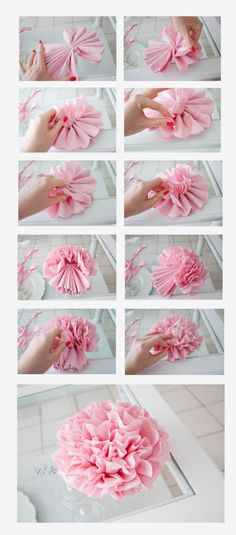 DIY: Tissue Paper Flowers - Tutorial... if you click through the tutorial is in french... quelle eeps! Here's a link to a site that has a tutorial in English: http://hoosierhomemade.com/how-to-make-tissue-paper-flowers/
