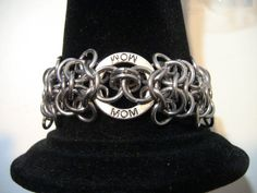 Chainmail Bracelet for Mom! Rosette Chainmaille with Mom circle Show your mother love with this maille bracelet! Chainmaille Jewlery for MOM