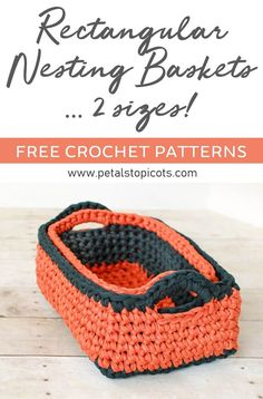 This rectangular crochet basket pattern is great for organization and storage! When worked up in T-shirt yarn they are super sturdy and durable. But perhaps my favorite part is how easy they are for little hands to tote around their treasures . my son l Crochet Home, Crochet Crafts, Crochet Yarn, Easy Crochet, Crochet Stitches, Free Crochet, Crochet Flowers, Crochet Afghans, Fabric Flowers