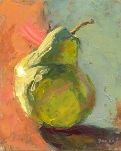 Pear, Impressionism, Impressionist, colorful, still life, fruit, food, 8 x 10, painting by artist Marie Fox