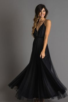 This delicate soft tulle maxi dress is a chic and stunning look that is perfect for your next special occasion!...