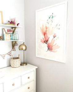 Add a floral touch to your nursery decor with a wall art print from Minted.  Image courtesy of @BriMoysa