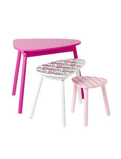 Lote de 2 mesas estampadas tema Floral para quarto de menina BRANCO CLARO LISO COM MOTIVO