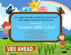 This bible school completion certificate features a bible against cartoon vacation bible school flyer template yelopaper Choice Image