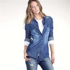Fitted Denim Shirts for Women | back long sleeved fitted cotton denim shirt denim shirt basic ...