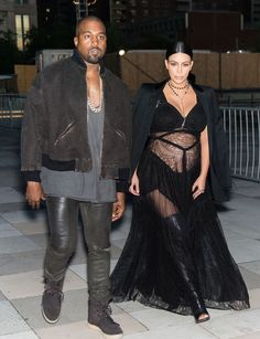 With Kanye in Givenchy on her way to the house's spring 2016 show at NYFW.