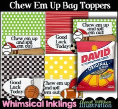 Chew 'em Up...Set of 4 Bag Toppers