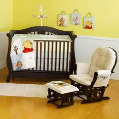 Winnie the pooh themed!!! and that rocking chair looks sooo comfortable : )