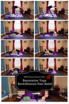 Restorative Yoga for Back/Sciatica Pain Relief - FREE practice guide and video Sciatic Nerve Relief, Sciatic Pain, Restorative Yoga Sequence, Yoga Sequences, Iyengar Yoga, Ashtanga Yoga, Yoga Restaurador, Yoga For Sciatica, Yoga Poses For Back
