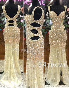 A-line Sweetheart Neckline Tulle Backless Long Prom Dresses, Evening – 24prom #prom #dress #promdress