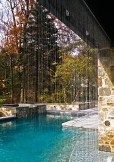 Top 20 Modern Farmhouse Pool Fountains Ideas For You backyard Pool Renovation Rustic Outdoor Fireplaces, Outdoor Fireplace Designs, Water Wall Fountain, Pool Fountain, Stone Backyard, Ponds Backyard, Backyard Waterfalls, Backyard Landscaping, Modern Backyard Design