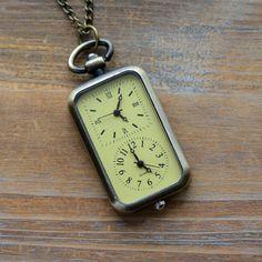 Pocket Watch Collier pendentif fonctionnelle Double fuseau horaire travail horloges verre visage et corps laiton Antique Style Vintage Watch (BB026)
