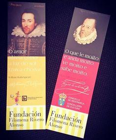 Marcapáxinas conmemorativos do Día do Libro e do 400 aniversario do pasamento de Cervantes e mais de Shakespeare. Campaña de promoción da lectura das bibliotecas, en colaboración coa Fundación Filomena Rivero Alonso