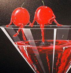 "Michael Godard ""Cherry Cosmo in love "" Limited Edition Canvas Giclee Red Aesthetic, Aesthetic Vintage, Arte Obscura, Airbrush Art, Wow Art, Arte Pop, Retro Futurism, Retro Art, Grafik Design"