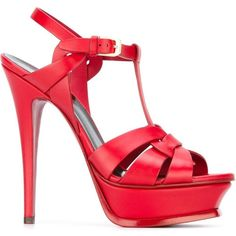 Saint Laurent Tribute Sandals (384.170 CRC) ❤ liked on Polyvore featuring shoes, sandals, heels, red, high heel stilettos, ankle wrap sandals, heeled sandals, t strap sandals and platform shoes