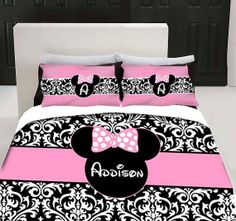 Damask Minnie Mouse Bedding Set Any Size by 3psinapod2011 on Etsy, $105.00