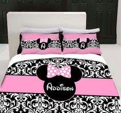 Damask Minnie Mouse Bedding Set Any Size by 3psinapod2011 on Etsy, $105.00