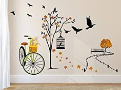 85c65796a53 Amazon Brand - Solimo Wall Sticker for Living Room(Ride through Nature