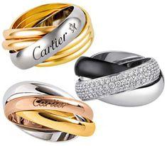 Alianzas en platino de Cartier modelo Trinity