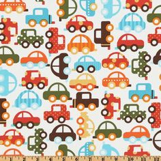 Ready Set Go Organic Bermuda Traffic from @fabricdotcom  Designed by Ann Kelle for Robert Kaufman Fabrics, this organic cotton print fabric is perfect for quilt or craft projects, apparel and home décor accents. Colors include olive, orange, aqua, turquoise, yellow and brown on a white background. Has GOTS certifcation.