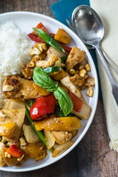 Thai Mango Chicken Stir Fry - the best of Thai takeout, made at home!