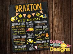 ****PLEASE READ FULL DESCRIPTION BEFORE ORDERING.*** Custom made poster for your childs first birthday! The design can also be customized for any birthday and made for girl or boy! RUSH ORDER AVAILABLE! SEE INFORMATION BELOW!! A final design will be emailed to customer in 3-5