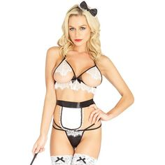 Leg Avenue Naughty French Maid Lingerie Costume ($22) ❤ liked on Polyvore featuring costumes, plus size ladies halloween costumes, ladies halloween costumes, french maid costume, sexy women costumes and sexy ladies halloween costumes