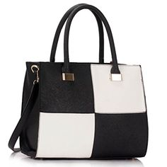 awesome Womens Check Print Designer Faux Leather Celebrity Style Tote Handbag