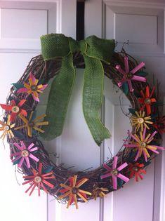 Shotgun Shell Flower Wreath, Shotgun Shell Wreath, Spring Wreath. Redneck crafts.