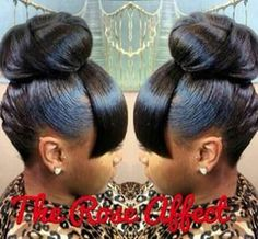 Bun and bang Hair Fair, High Bun, Updos, Hair Ideas, Pearl Earrings, Hair Dos, Top Knot, Pearl Studs, Updos Hairstyle