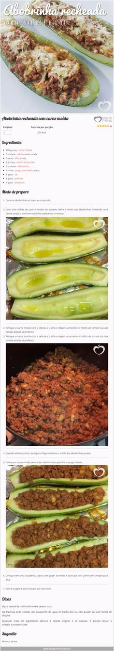 Abobrinha recheada com carne moída - Blog da Mimis #abobrinha #receita #blogdamimis