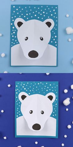 polar bear paper craft for kids. Create a polar bear portrait with a pop-out nose, surrounded by falling snow made from Q-tip dots. This is an easy Winter craft for kids suitable for Kindergarten and up Polar bear portrait Printable Activities For Kids, Printable Crafts, Craft Activities, Preschool Crafts, Crafts For Kindergarten, Bee Crafts For Kids, Winter Crafts For Kids, Winter Activities For Kids, Preschool Winter