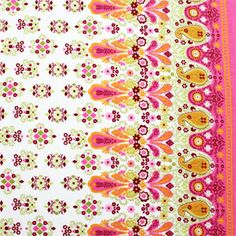 Paisley Border Print Pink Cotton Jersey Knit Fabric