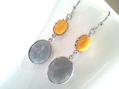 Vintage Cool Gray with Yellow Silver Earrings,Drop, Dangle, Glass Earrings,bridesmaid gifts,Wedding jewelry. $28.50, via Etsy.