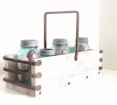 White Wash Wood Tray Wine Holder SIorage Box Planter Box Rustic Industrial Chic Wedding Gift Forged Iron Handle. $125.00, via Etsy.