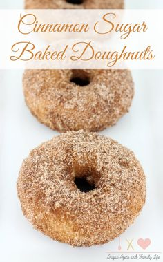Cinnamon Sugar Baked Doughnuts are a delicious breakfast treat that everyone will love. These baked donuts are coated with cinnamon sugar for a sweet treat that is great with a cup of hot coffee. - Cinnamon Sugar Baked Doughnuts Recipe on Sugar, Spice and Sugar Doughnut Recipe, Baked Doughnut Recipes, Baked Doughnuts, Churro Donuts, Cake Donut Recipe Baked, Donut Maker Recipes, Doughnut Muffins, Mini Doughnuts, Churros