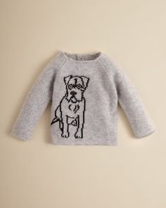 Burberry Infant Girls' Dane Dog Intarsia Cashmere Sweater - Sizes 6-18 Months