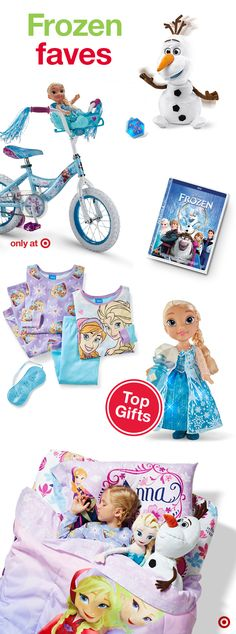 Elsa, Anna, Olaf, Kristoff and Sven—this group of Frozen faves are perfect for the Frozen fan on your Christmas gift list. Little ones will be delighted as they unwrap beautiful dresses, dolls, play sets, bikes, movies, bedding and more, each gift allowing them to recreate the epic journey or find their next snowy adventure.