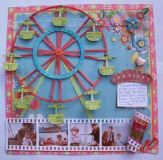Carnival Scrapbook Page with Ferris Wheel and negative film photo strip. Disney Scrapbook, Travel Scrapbook, Scrapbook Paper Crafts, Scrapbook Cards, Scrapbook Page Layouts, Paper Piecing, Diy And Crafts, Illustration, Projects To Try
