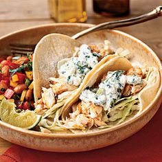 25 Best Seafood Recipes | Fish Tacos with Lime-Cilantro Crema | CookingLight.com