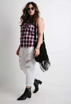 Plus Size Sleeveless Plaid Shirt