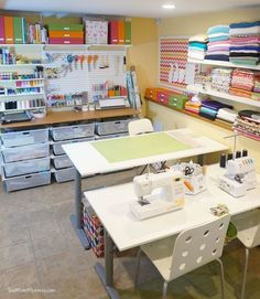 This craft space is doable and very efficient. - I love looking at pictures of craft rooms and there are some AMAZING ones out there. Some look too pretty to actually use! My craft space is pretty small. I think at best, it's 8' x 10'. It really isn't even a room, but a corner of a room in my office. I use this corner for crafts and use the other half of the room for my 'real job' as a graphic designer. Craft Room Ideas For The Home, Small Craft Rooms, Small Sewing Rooms, Basement Craft Rooms, Craft Space, My Sewing Room, Sewing Spaces, Space Crafts, Crafts For Kids