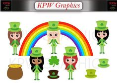 St Patricks Girls Clip-art Set in a PNG format. Personal & Small Commercial use Girl Clipart, Clipart Images, St Patrick, Clip Art, Symbols, Invitations, Commercial, Handmade Gifts, Cards