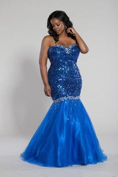 Plus Size Strapless Mermaid Style Prom Dress by Blush | Prom ...