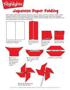 How to Make an Origami Pinwheel - Paper-folding (origami) was developed into a fine art in Japan over many centuries. Usually a rather thin paper colored on one side only is used for the foldings, but any thin paper will do. Many Japanese children have become very skillful in folding a great variety of different designs. Maybe you would like to try this simple example of the ancient art of origami.