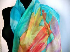 Hand painted silk scarf Turquoise color scarf At by TiiuHandCraft
